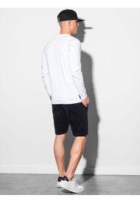 Ombre Clothing - Longsleeve męski z nadrukiem L130 - biały - XXL. Kolor: biały. Materiał: bawełna, tkanina. Długość rękawa: długi rękaw. Wzór: nadruk