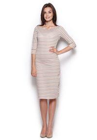 Beżowa sukienka dresowa Figl midi