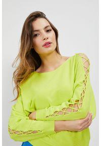 MOODO - Sweter z wiązaniem na rękawach. Materiał: wiskoza. Długość rękawa: długi rękaw. Długość: długie. Wzór: gładki