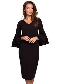 Makover - Elegancka sukienka midi z rękawami z falbanami. Typ sukienki: ołówkowe. Styl: elegancki. Długość: midi