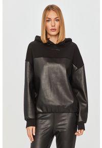 Czarna bluza Karl Lagerfeld z kapturem, z długim rękawem, długa, klasyczna