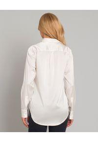 SOLUZIONE - Jedwabna koszula z połyskiem. Okazja: na co dzień. Kolor: biały. Materiał: jedwab. Długość: długie. Styl: casual