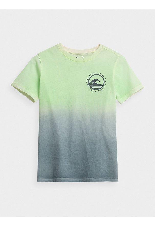 4f - T-shirt z nadrukiem chłopięcy. Materiał: bawełna, dzianina, materiał. Wzór: nadruk