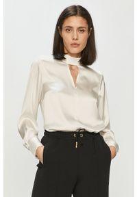 Biała bluzka DKNY z długim rękawem, gładkie, długa, ze stójką