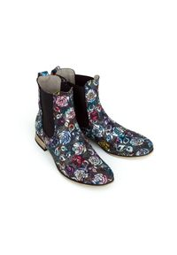Czarne botki Zapato w kwiaty, wąskie