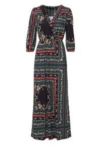 Długa sukienka z nadrukiem bonprix czarny z nadrukiem. Kolor: czarny. Wzór: nadruk. Typ sukienki: kopertowe. Długość: maxi