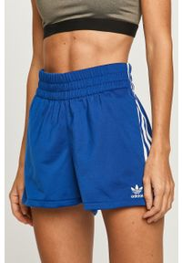 Niebieskie szorty adidas Originals z podwyższonym stanem, sportowe, z aplikacjami