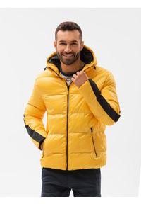 Ombre Clothing - Kurtka męska pikowana C503 - żółta - XXL. Kolor: żółty. Materiał: poliester