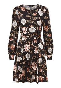 Czarna sukienka mini Happy Holly z długim rękawem