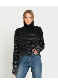 Balmain - BALMAIN - Wełniany sweter. Typ kołnierza: golf. Kolor: czarny. Materiał: wełna. Długość: długie. Wzór: aplikacja