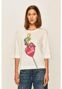 Biały sweter Love Moschino z okrągłym kołnierzem, na co dzień