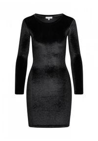 Marsala - Sukienka KYLIE BY MARSALA welurowa czarna. Okazja: na imprezę. Kolor: czarny. Materiał: welur. Typ sukienki: proste, dopasowane. Styl: wizytowy, elegancki