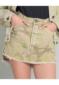 ONETEASPOON - Spódnica jeansowa moro. Stan: podwyższony. Kolor: zielony. Materiał: jeans. Wzór: moro. Styl: rockowy