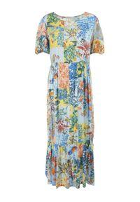 Born2be - Niebieska Sukienka Laomemoni. Okazja: na co dzień. Kolor: niebieski. Materiał: wiskoza, materiał. Długość rękawa: krótki rękaw. Wzór: aplikacja, kolorowy. Typ sukienki: proste. Styl: casual. Długość: maxi #2