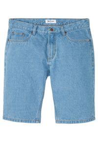 """Bermudy dżinsowe Regular Fit bonprix niebieski """"bleached"""". Kolor: niebieski. Wzór: gładki"""