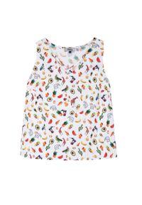 Biała bluzka TROLL na ramiączkach, na co dzień, z dekoltem w kształcie v, w kolorowe wzory