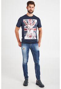 T-shirt Frankie Morello elegancki, w kolorowe wzory