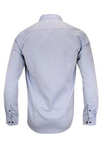 Niebieska elegancka koszula Rey Jay z długim rękawem, do pracy