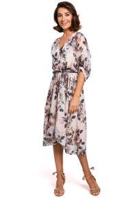 e-margeritka - Sukienka szyfonowa midi w kwiaty ecru - l. Okazja: do pracy, na imprezę. Materiał: szyfon. Wzór: kwiaty. Typ sukienki: asymetryczne, rozkloszowane. Styl: elegancki. Długość: midi
