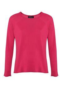 CATERINA - Różowy sweter z dodatkiem kaszmiru. Okazja: na co dzień. Kolor: różowy, fioletowy, wielokolorowy. Materiał: kaszmir. Długość rękawa: długi rękaw. Długość: długie. Styl: elegancki, casual