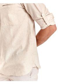 TOP SECRET - Koszula męska z lnem, z podwijanymi rękawami. Typ kołnierza: kołnierzyk stójkowy. Kolor: beżowy. Materiał: len. Długość: długie. Sezon: lato #6