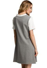 MOE - Trapezowa bawełniana sukienka w kontrastowe pasy. Materiał: bawełna. Długość rękawa: krótki rękaw. Sezon: lato. Typ sukienki: trapezowe