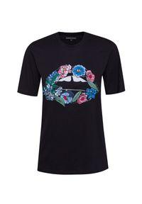Czarny t-shirt Markus Lupfer z klasycznym kołnierzykiem, klasyczny, w kwiaty