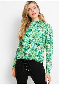 Czarna bluzka bonprix w kwiaty, długa, z długim rękawem