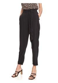 TOP SECRET - Spodnie długie damskie z podwyższonym stanem. Stan: podwyższony. Kolor: czarny. Długość: długie