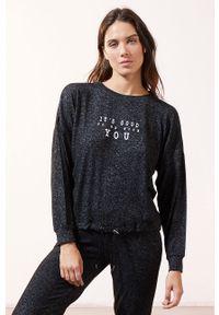 Czarna piżama Etam długa, z nadrukiem