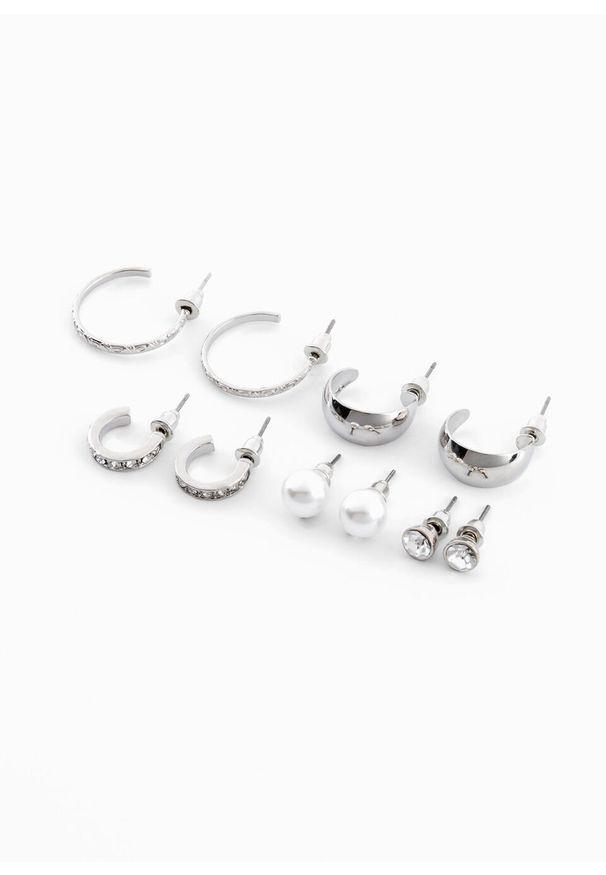 Komplet kolczyków (10 części) bonprix srebrny kolor