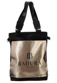 Torebka damska czarno-złota Badura T_D134CZ_CD. Kolor: wielokolorowy, złoty, czarny. Materiał: skórzane. Rodzaj torebki: do ręki