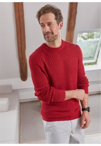 Czerwony sweter bonprix z okrągłym kołnierzem