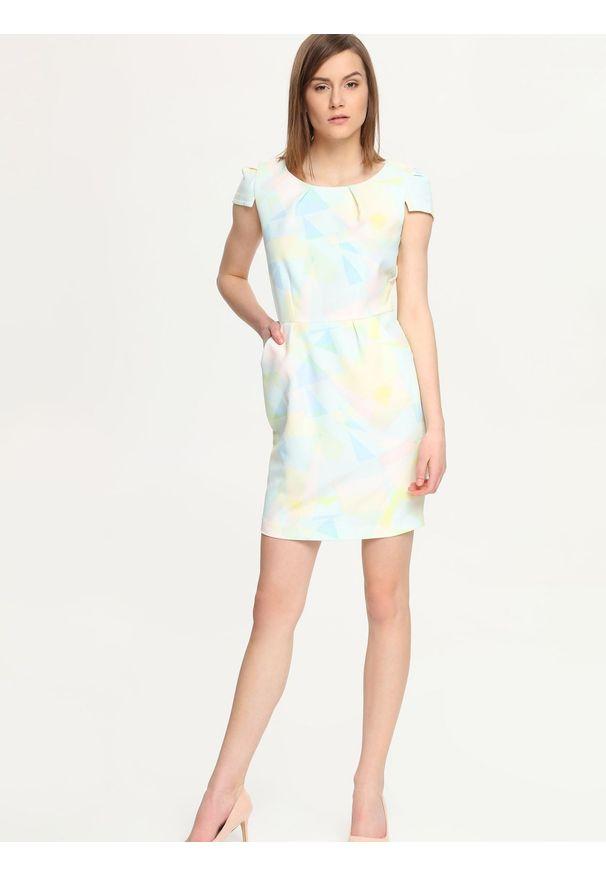 Niebieska sukienka TROLL mini, w geometryczne wzory, ołówkowa, wizytowa