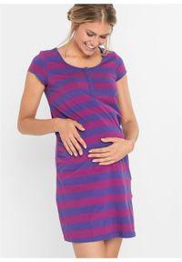 Koszula nocna do karmienia, bawełna organiczna bonprix fioletowo-lila w paski