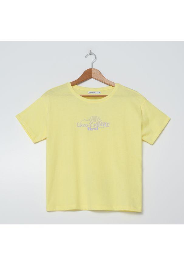 House - Koszulka z napisem Love Yourself First - Żółty. Kolor: żółty. Wzór: napisy