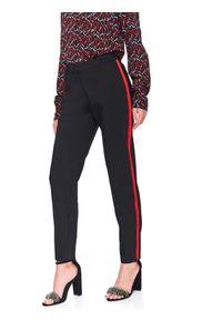 Czarne spodnie TOP SECRET na wiosnę, długie, w kolorowe wzory