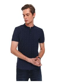 Niebieski t-shirt TOP SECRET w kropki, polo, elegancki