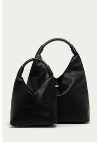 Czarna shopperka ANSWEAR wakacyjna, na ramię, duża