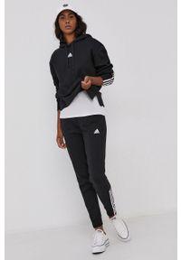 Adidas - adidas - Bluza. Okazja: na co dzień. Typ kołnierza: kaptur. Kolor: czarny. Materiał: bawełna, dzianina, poliester. Długość rękawa: długi rękaw. Długość: długie. Styl: casual