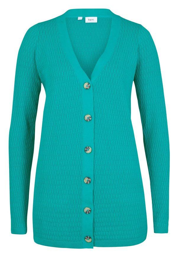 Sweter rozpinany w ażurowy wzór bonprix szmaragdowy. Kolor: zielony. Wzór: ażurowy