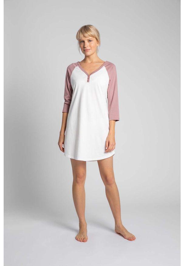MOE - Dwukolorowa Koszula Nocna z Bawełny - Ecru. Materiał: bawełna
