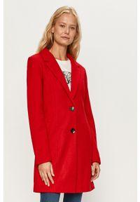 Czerwony płaszcz only casualowy, na co dzień, z klasycznym kołnierzykiem