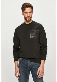 Czarna bluza nierozpinana Calvin Klein casualowa, bez kaptura