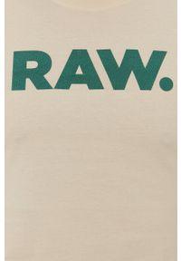 G-Star RAW - G-Star Raw - T-shirt. Okazja: na co dzień. Kolor: beżowy. Wzór: nadruk. Styl: casual