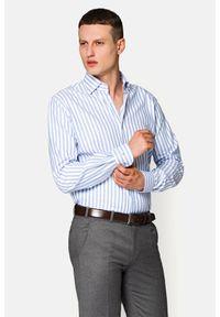 Lancerto - Koszula Błękitna w Prążek Clara. Kolor: niebieski. Materiał: bawełna, len, tkanina, wełna. Wzór: prążki. Sezon: lato