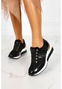 Kati - Czarne sneakersy kati buty sportowe sznurowane polska skóra m_7074. Kolor: czarny. Materiał: skóra