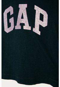 Niebieska bluzka z długim rękawem GAP z nadrukiem, casualowa, na co dzień, długa
