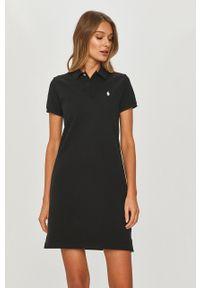 Czarna sukienka Polo Ralph Lauren na co dzień, z krótkim rękawem, polo