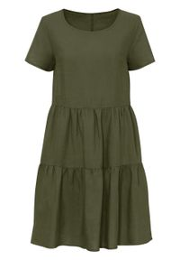 Sukienka TENCEL™ Lyocell z lnem bonprix ciemny khaki. Kolor: zielony. Materiał: len, lyocell